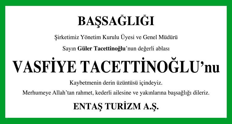 Vasfiye Tacettinoğlu - Hürriyet Başsağlığı İlanı