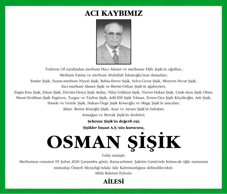 Osman Şişik Sözcü Vefat İlanı