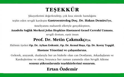 Prof. Dr. Metin Çakmakçı Doktora Teşekkür İlanı